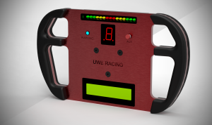 Keyshot render of the front, red anodised base plate with all displays lit