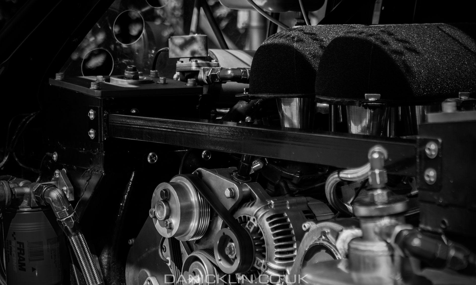 Rear engine bay showing the impressive 3L block